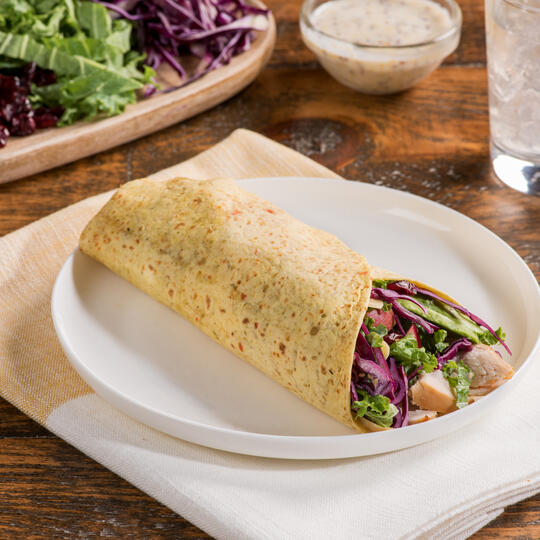 Chicken Wraps with Cabbage, Apple and Cranberry Slaw