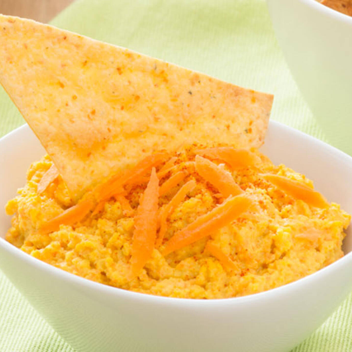 Baked Garden Vegetable Tortillas Chips with Roasted Carrot Hummus
